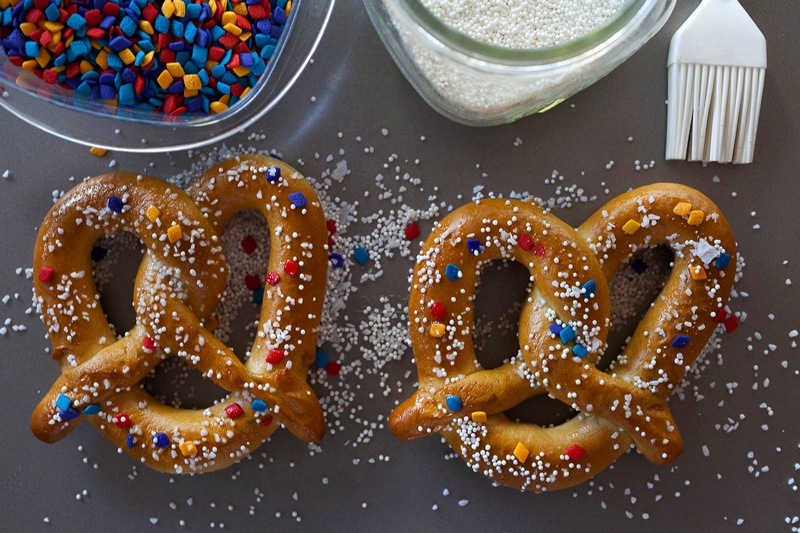 Salty-sweet sprinkles ball park sof pretzels