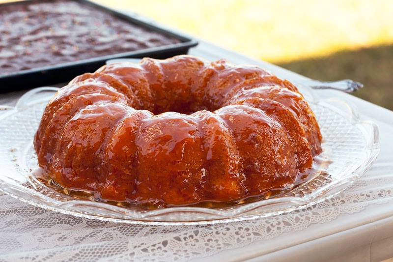 french bundt cake on wedding buffet table
