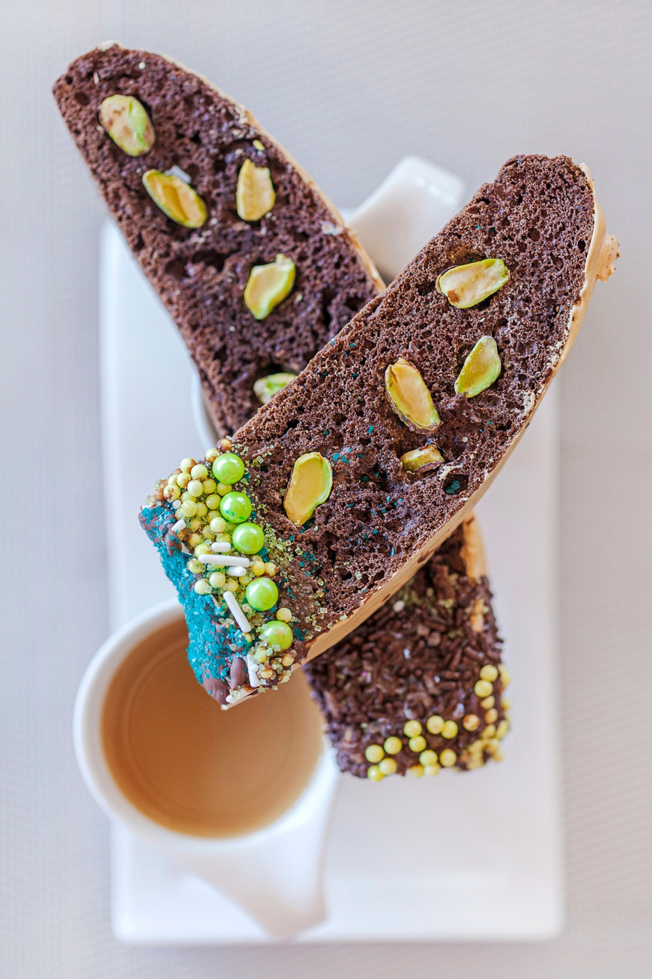 Chocolate, Coffee, Pistachio Biscotti with Sprinkles
